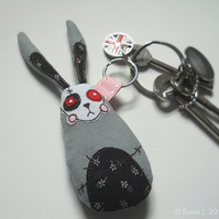 embroidered fabric keyring - zombie rabbit
