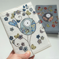 freemotion embroidered floral bird notebook sketchbook - blue