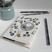 freemachine embroidered floral bird notebook sketchbook - green blue