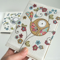 freemotion embroidered fabric notebook sketchbook cover floral bird - mustard
