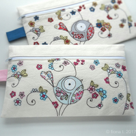 free motion embroidered floral bird large fabric pencil case purse - pink blue