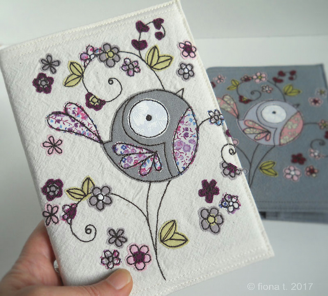 freehand embroidered floral bird fabric sketchbook notebook cover - purple lilac