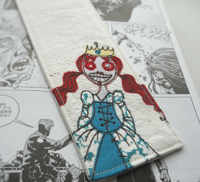 freehand embroidered zombie princess fabric bookmark