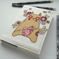 embroidered floral zombie kitty sketchbook - ginger cat