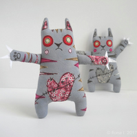 freehand embroidered zombie kitty cat - ruby - free UK postage