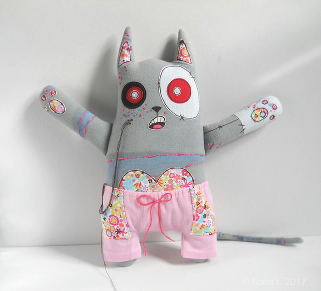 large freemotion and hand embroidered zombie kitty cat