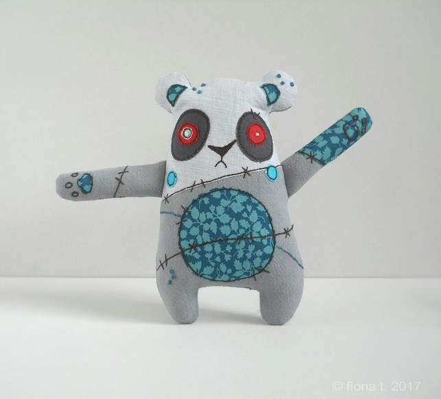 freehand embroidered zombie panda pocket sized teal
