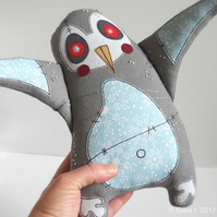 large freemotion and hand embroidered zombie penguin
