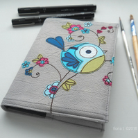 freehand embroidered floral bluebird notebook A6 sketchbook
