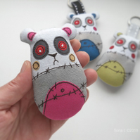 free motion embroidery keyring bagcharm zombie panda - pink