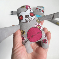 freehand embroidered floral zombie sloth - pink
