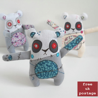 freehand embroidered zombie panda - teal - free UK postage