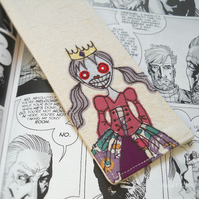 freehand embroidered fabric bookmark zombie princess