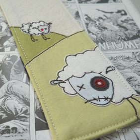 embroidered zombie sheep fabric bookmark