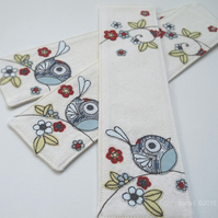 freemachine embroidered bird fabric bookmark