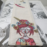 freehand embroidered fabric bookmark floral crown zombie