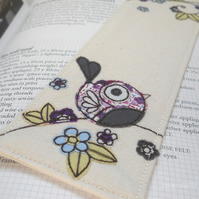 freehand embroidered fabric bookmark purple bird
