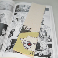 freemotion embroidered zombie sheep fabric bookmark