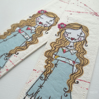 freemotion embroidered zombie girl fabric bookmark