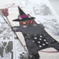 freehand embroidery fabric bookmark zombie witch cat
