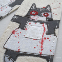 freehand embroidered fabric bookmark zombie kitty butcher