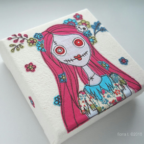 freehand embroidered floral zombie original textile art