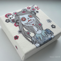 freehand embroidery floral zombie original textile art