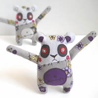 freehand embroidered floral zombie panda - purple