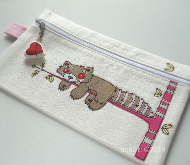 freehand embroidered zombie brown red panda pencil case