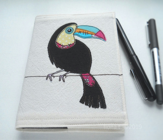 applique & free motion embroidered zombie toucan notebook