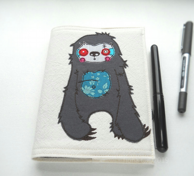 freehand embroidered zombie sloth A6 fabric notebook