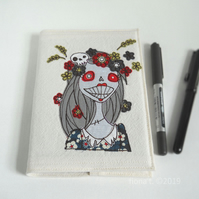 free motion embroidered zombie girl fabric notebook A6