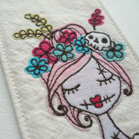 free motion embroidered fabric bookmark pink floral zombie
