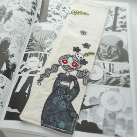 freehand embroidered zombie girl fabric bookmark - blue