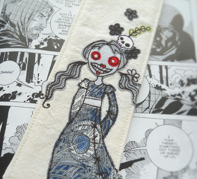freehand embroidered applique fabric zombie bookmark - blue