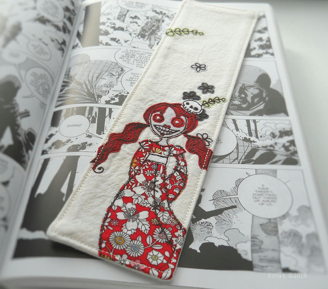 free motion embroidered zombie fabric bookmark red