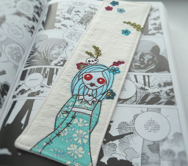 free motion embroidered zombie fabric bookmark - blue