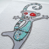 freehand embroidered zombie lemur fabric sketchbook A6