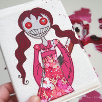freehand embroidered zombie girl fabric notebook sketchbook A6 pink