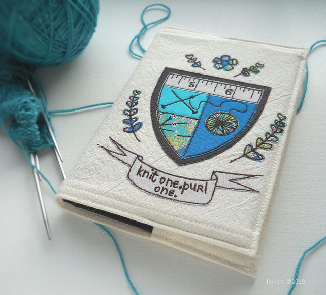 freehand embroidered sketchbook A6 knitting craft coat of arms turquoise blue