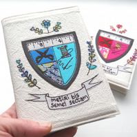 freehand embroidered notebook A6 coat of arms sewing blue