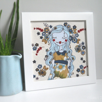 framed applique & freehand embroidery floral zombie original textile art