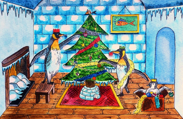 Christmas Greetings Card- Putting Up The Tree (Penguin Design)