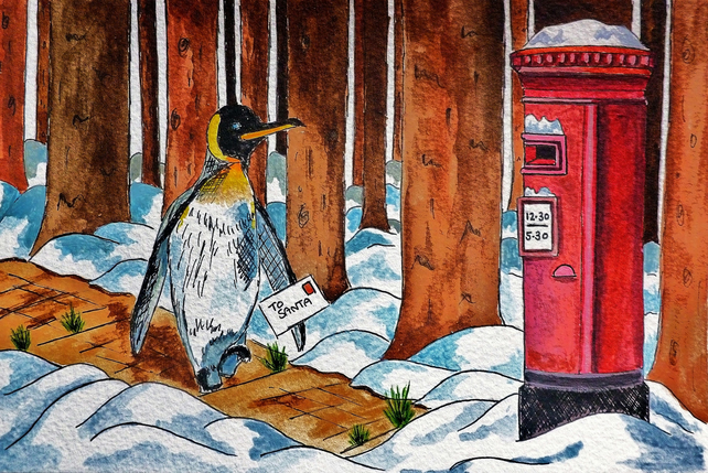 Christmas Greetings Card- A Little Note For Santa (Penguin Design)