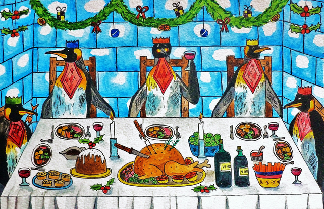 Christmas Greetings Card- Christmas Dinner (Penguin Design)
