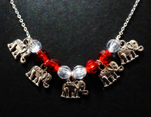Elephant Charm & Red Bead Necklace