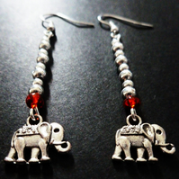 Elephant Charm & Red Bead Earrings
