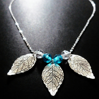 Silver Leaf & Blue Bead Necklace