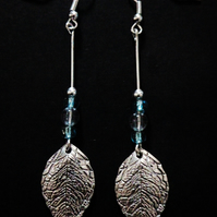 Silver Leaf & Blue Bead Earrings