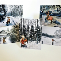 Christmas Greetings Cards- Wildlife Designs (Pack Of 5)